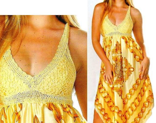 2 Vestidos Mezcla Crochet y Tela