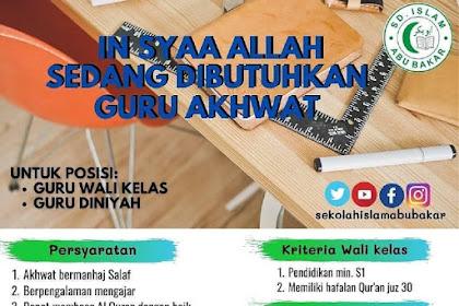 Lowongan Pekerjaan Guru Diniyyah & Wali Kelas di Sekolah Islam Abu Bakar Tangerang