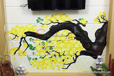 Vẽ tranh tường 5D: Hoa mai vàng đón Tết Mậu Tuất 2018