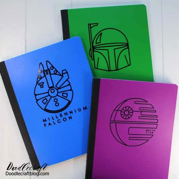Here's a quick Cricut craft to update some lined notebooks. These would make a great Summer craft, journal, end of school/teacher gift, or just add some fun to a notebook. Any Star Wars fan would love one!