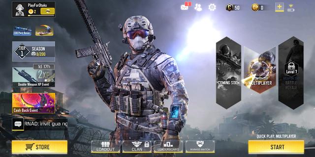Tampilan Utama Game Call of Duty