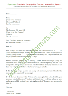 format of complaint letter to gas agency