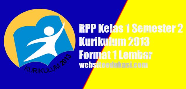 RPP Kelas 1 Semester 2 K13 Revisi 2020 Format 1 Lembar