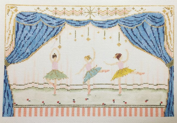 3 ballerinas dancing on stage needlepoint canvas