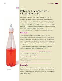 Apoyo Primaria Ciencias Naturales 3ro Grado Bloque III Proyecto Reto con los materiales y la temperatura