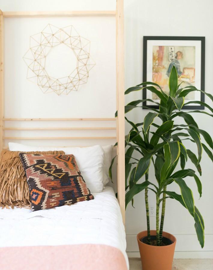 Antes y después de un dormitorio Boho Vintage