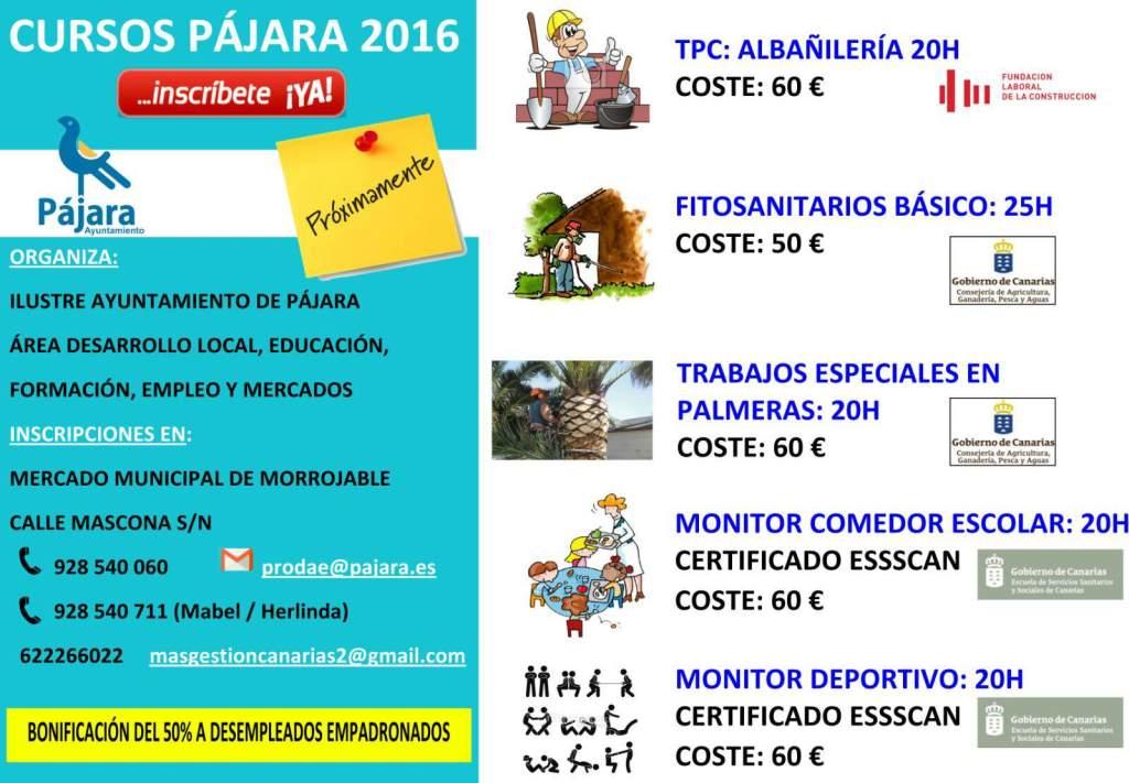 Pajara Abre La Inscripcion En Los Cursos De Formacion Con Descuentos Para Desempleados Canarias Espana Las Palmas Tenerife