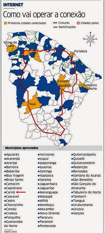 CONEXÃO À WEB - Mais 39 cidades ligadas ao Cinturão Digital  Cariré está na  lista dos municípios aprovados. Internet ... 6947ef1303