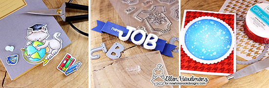 New Job Card and Gift by Ellen Haxelmans | Newtons Graduation Stamp Set, Essential Alphabet Die, Houndstooth Stencil  & more by Newton's Nook Designs #newtonsnook #handmade
