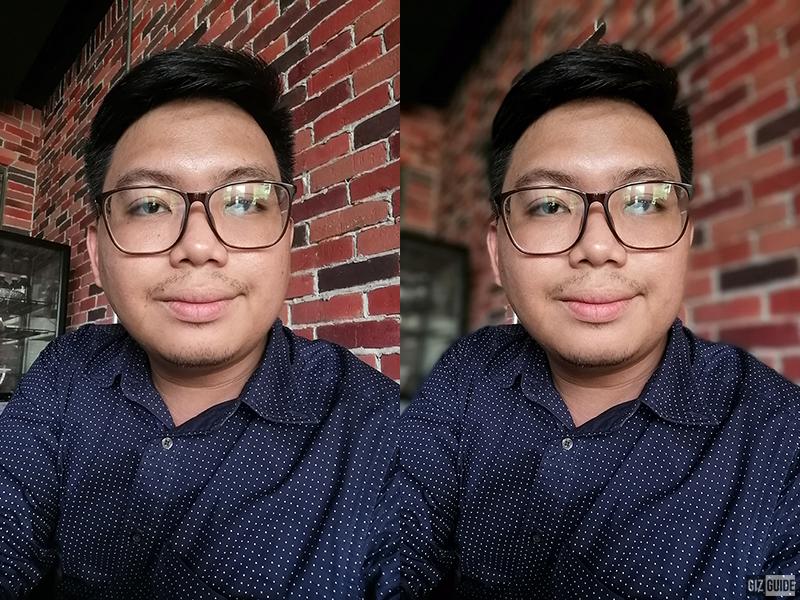 Selfie well-lit normal vs bokeh