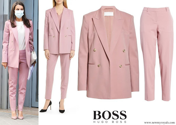 Queen Letizia wore Hugo Boss Jericoa Stretch Wool Double Breasted Blazer Tiluna Stretch Wool Ankle Trousers