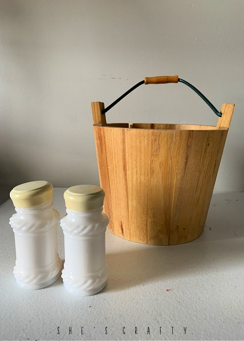 thrift store haul - milk glass salt and pepper shakers, wooden bucket