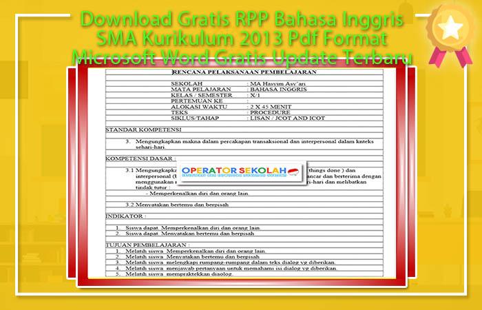 RPP K13 SMA Bahasa Inggris PDF