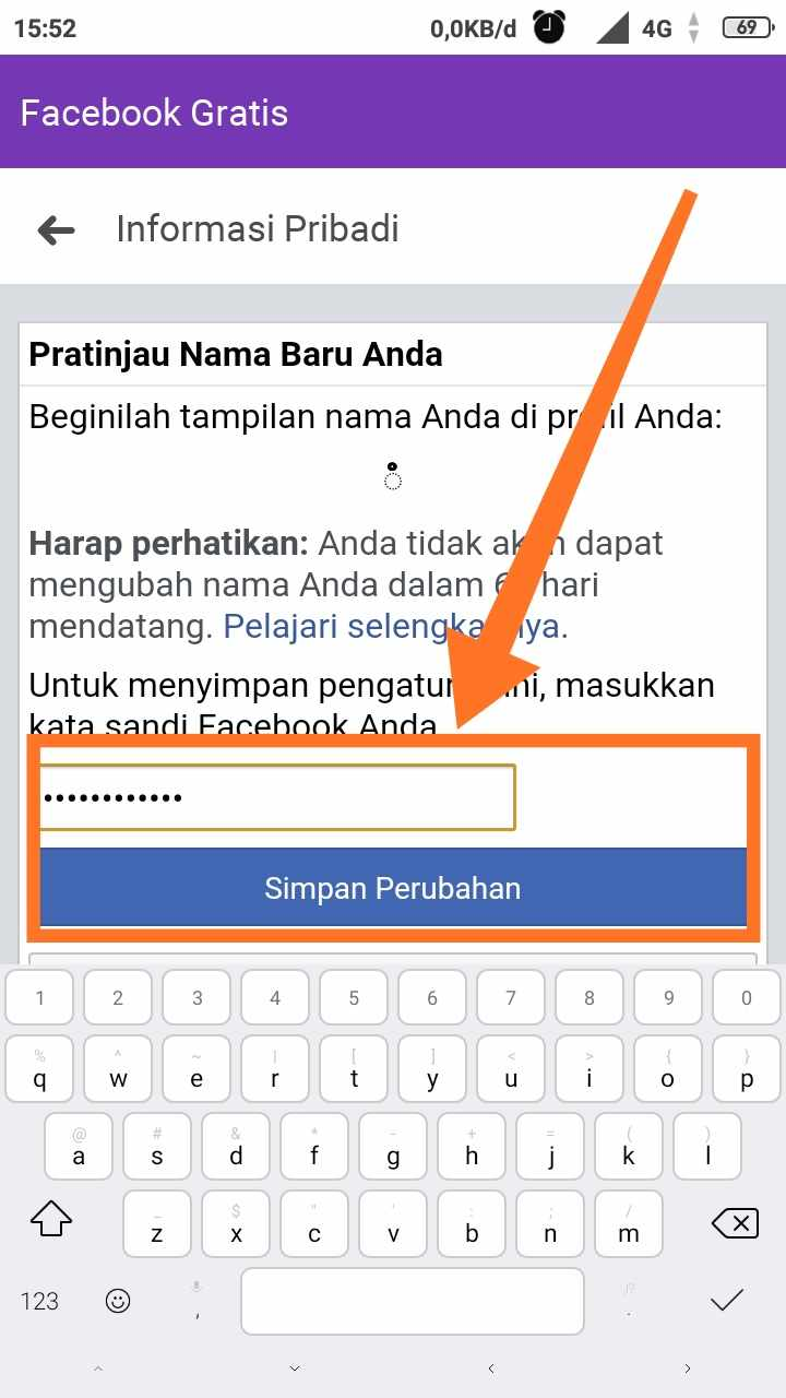Cara mengubah nama fb menjadi kosong