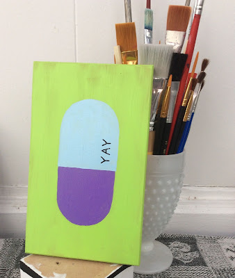 Pill Painting YAY Stefanie Lynn Girard, Pill art, Drug art, pharmacy art, pop art, modern art
