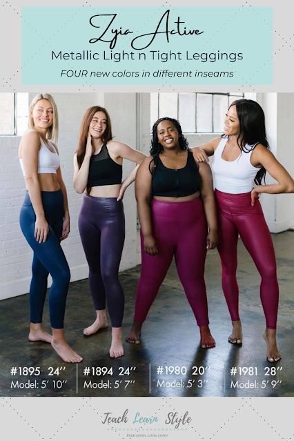 zyia metallic light n tight leggings, faux leather leggings, spanx dupes, zyia metallic leggings, new zyia metallic legging colors and lengths, zyia metallic leggings colors, zyia metallic leggings inseam lengths