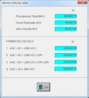 Cálculo de costo final de obra