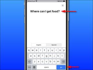 """في ترجمة Apple على iPhone ، أدخل النص الذي ترغب في ترجمته باستخدام لوحة المفاتيح على الشاشة ، ثم انقر على """"انتقال""""."""