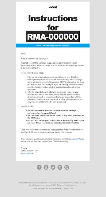 【攝影知識】最新 GoPro 報修流程,主機、配件送修不用擔心 - GoPro 寄來的 RMA 退貨通知 (圖片點擊可放大)