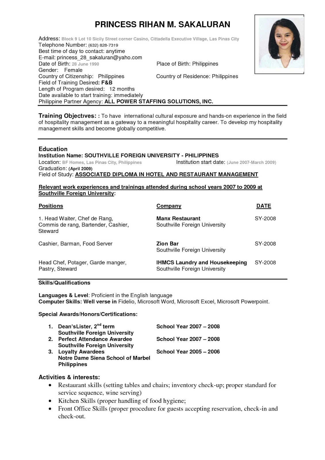 resume example resume for ojt business administration students sample resume for ojt office management students frizzigame - Resume Formats For Students