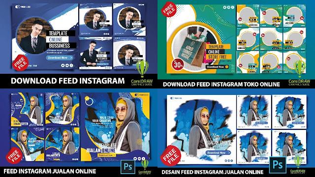 Download Desain Feed Instagram Jualan Toko Online CorelDraw Dan Photoshop