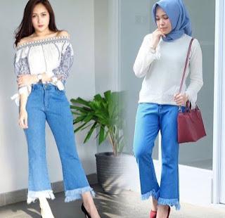 Model Celana Jeans Wanita Fringe Jeans