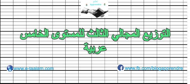 التوزيع المجالي الثالث للمستوى الخامس ابتدائي عربية 2020/2021