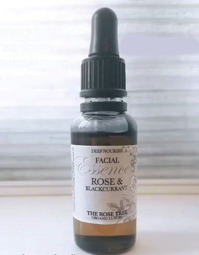 natural facial oil from The Rose Tree set against a light grey background
