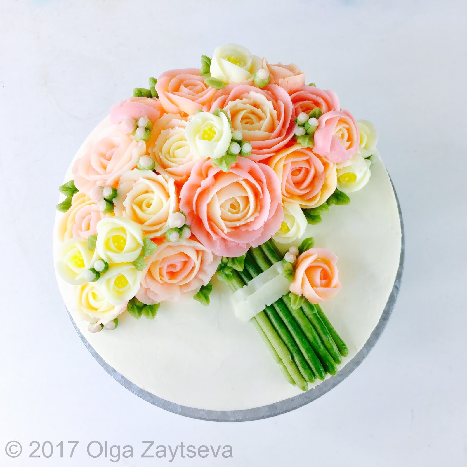 Pink roses buttercream bouquet cake olga zaytseva learn how to pipe tiny jasmine roses and buds and assemble a buttercream flower bouquet cake in variety of pink shades izmirmasajfo