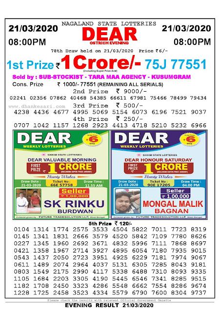 Nagaland State Lotteries 21-03-2020 Lottery Sambad Result 8:00 PM