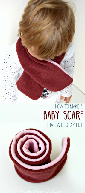 How to make a baby scarf that will stay put. This beginner sewing project makes a great diy gift for babies and older kids. Let your kids stay warm wearing these stay-put fleece scarves. Take a look!