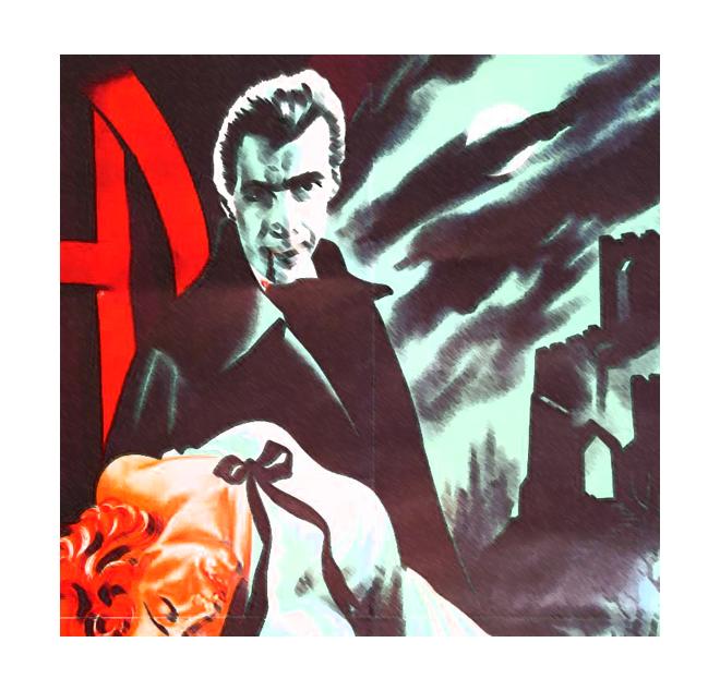 Cartel de la productora Hammer, con Cristopher Lee como Drácula.