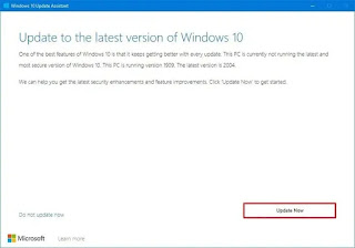 Update Assistance To Windows 10 version 20H2