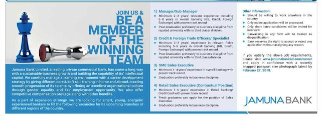 Jamuna Bank Limited JBL Job Circular 2018 2
