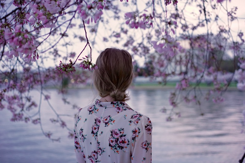 Girl Floral Dress Cherry Blossoms