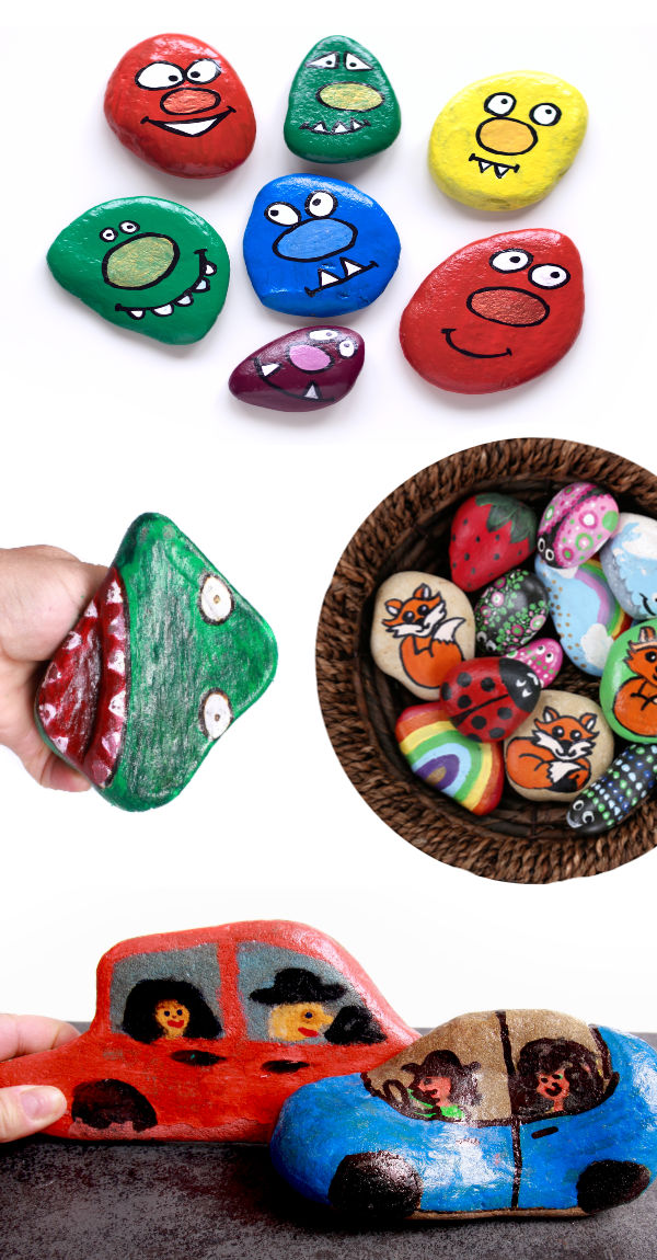 Rock painting ideas for kids.  This tutorial includes several types of Halloween rock ideas, too. ideas. #rockpaintingideas #rockcrafts #halloweenrocks #halloweenrockpaintingideas #spookystonepainting #spookystones #halloweencrafts #growingajeweledrose #activitiesforkids #halloween