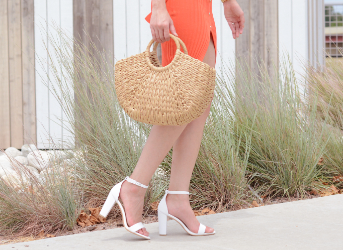 Fashion Nova, Orange Sip of Wine Dress, Straw Bag