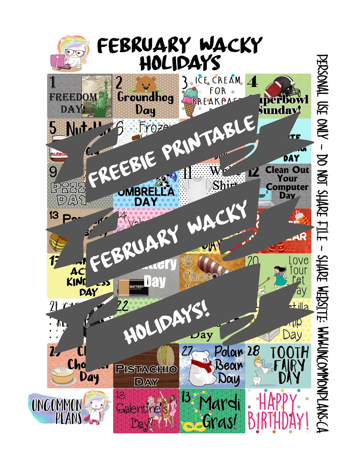 Uncommon Plans Freebie Printable Planner Stickers February Wacky Holidays
