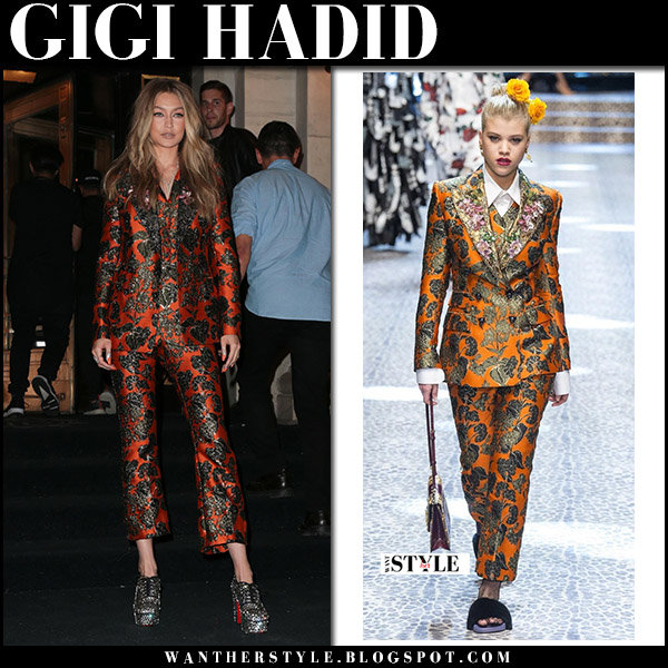Gigi Hadid in orange printed suit dolce gabbana and silver crystal pumps christian louboutin september 8 2017 party outfit