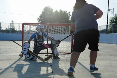 Street hockey in Clive, Alberta
