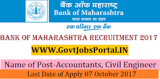 Bank of Maharashtra Recruitment 2017– 110 Accountants, Civil Engineer