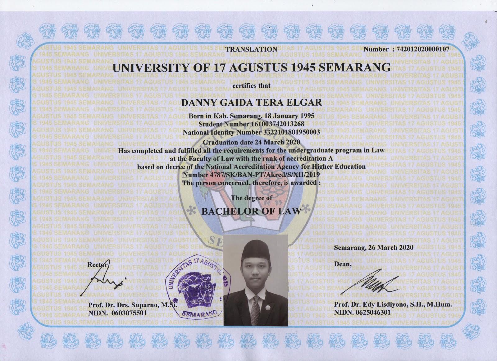 Ijazah Sarjana (S1) Fakultas Hukum Universitas 17 Agustus 1945 (UNTAG) Semarang | Versi Bahasa Inggris (English Language) | Bachelor Of Law
