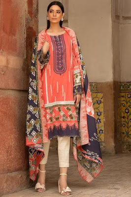 warda winter usntitched khaddar pink colour suit with printed dupatta