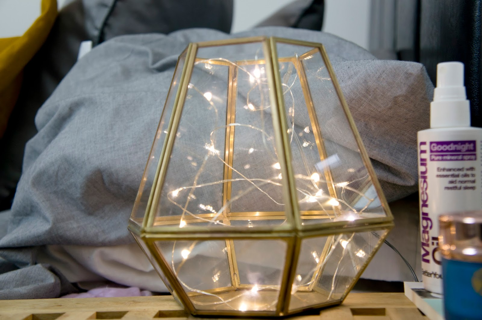 Lantern, from Debenhams, with LED lights (from amazon) to create your own bedside lamp