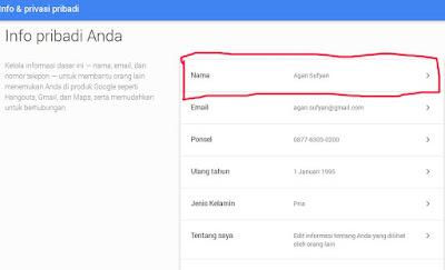 mengganti nama pengguna gmail