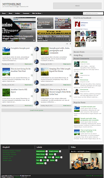 MyTimeLine Responsive Blogger Template Screenshot