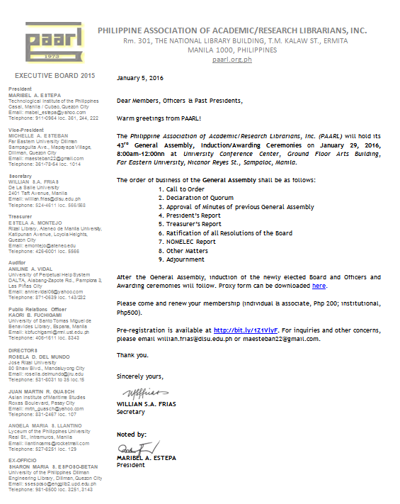 PLAI - Southern Tagalog Region Librarians Council: Notice of the