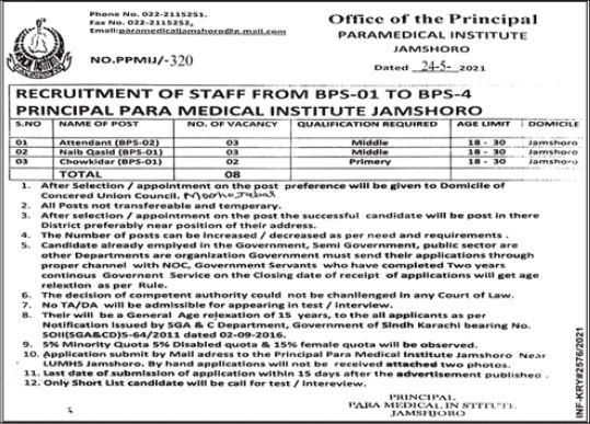 JOBS | Principle PARA Medical Institute Jamshoro