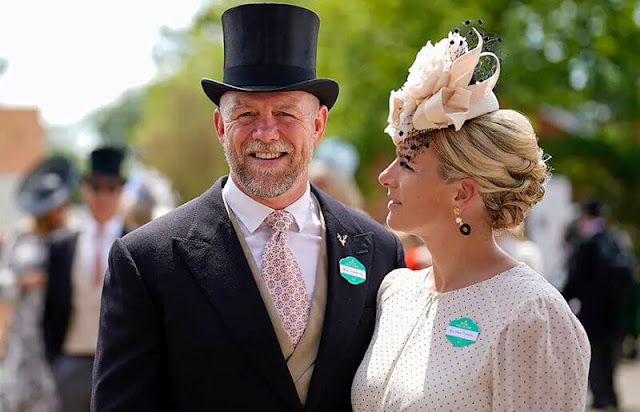 Countess of Wessex wore a new Amanda silk dress by ARoss Girl. Zara Tindall wore a polka dot dress by ME+EM