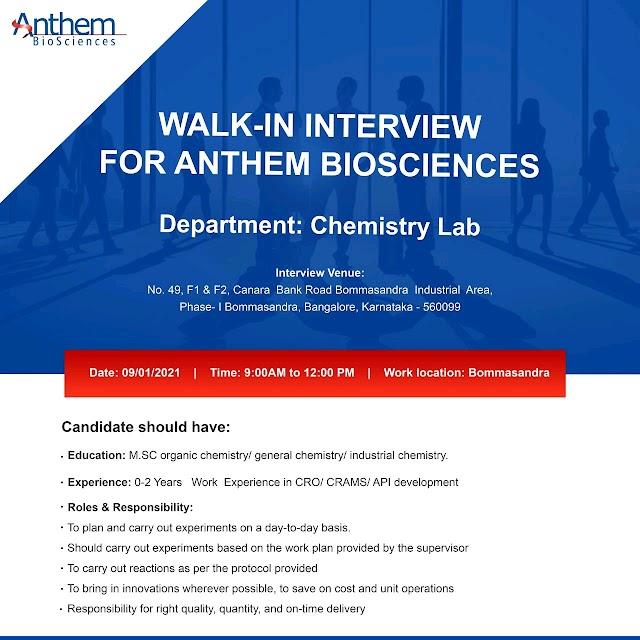 Anthem Biosciences | Walk-in interview for Chemistry Lab on 9th Jan 2021